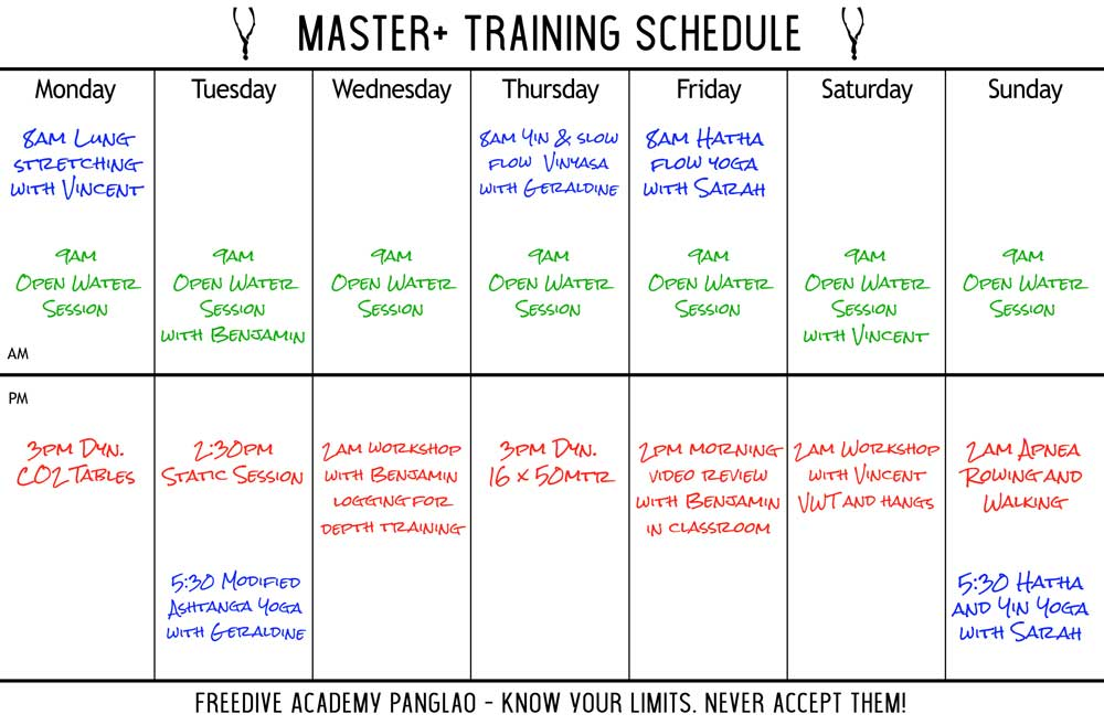 MASTER+ Training Schedule