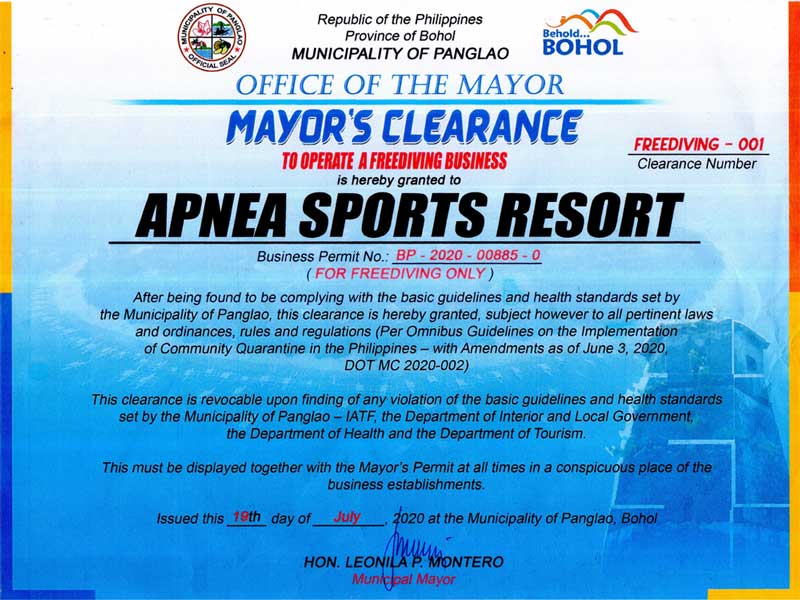 Re Open Certificate Panglao